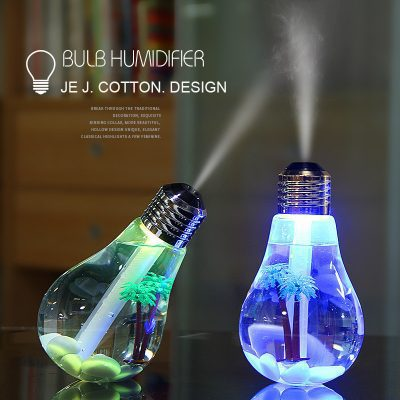 Novelty USB Bulb Humidifier Air Freshener Mist Maker with LED Night Light and Micro Landscape Air Ultrasonic Humidifier - Gift Set