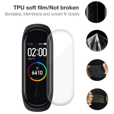 1pc Screen Protector Film For Mi Band 4 & M4 Band With Cleaning Wipes