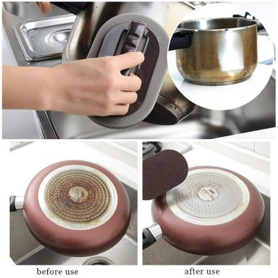 Diamond Sand Kitchen Sponge Descaling Clean Magic Pan Pot Windows Cleaning Brush Sponge With Hand Protector Cook Accessories