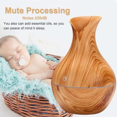 USB Electric Wood Grain Ultrasonic Cool Mist Humidifier 7 Color LED Lights Essential Oil Diffuser for Office Home Humidifiers
