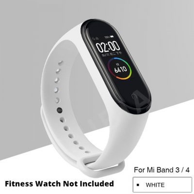 White Replacement Strap For Xiaomi MI Band 3, Mi Band 4 , M3 Band & M4 Band
