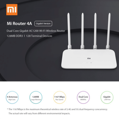 Xiaomi Mi WiFi Router 4A Gigabit Edition 802.11ac 2x2 MIMO 1000Mbps Dual Band 5G - GLOBAL VERSION