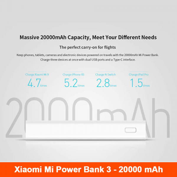 Xiaomi PLM18ZM Mi Portable Power Bank 3 20000mAh Dual USB Output Battery Charger 18W Two-way Quick Charge - White
