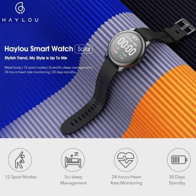 Original Xiaomi Haylou Solar LS05-1 SmartWatch - 30 Days Standby Battery Life International Version Black
