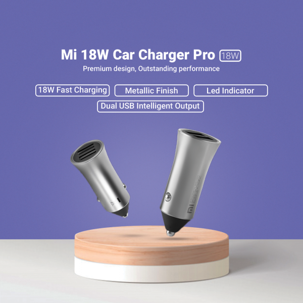 XIAOMI Mi Car Charger Pro 18W Dual USB Port Quick Charge with LED Light Tips is Available Now in Nepal