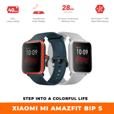 Amazfit Bip S Step Into A Colorful Life 31g Lightweight | 40-day Battery Life 5 ATM Water Resistance | Built-in GPS