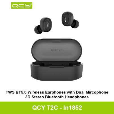 QCY T2C TWS True Wireless Bluetooth Headsets 3D Stereo Sound Earbuds Charging box