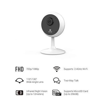EZVIZ by Hikvision| C1C Wireless Camera for Home|1080p Resolution|Wide Angle View|Night Viewing Upto 12m|Two Way Talk|Supports MicroSD Card Upto 256GB|