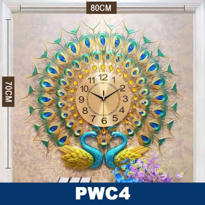 Modern Luxury Peacock Wall Clock Diamond Vintage Design- Pwc4