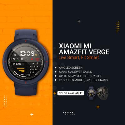 Xiaomi Mi Amazfit Verge Smart Watch – Live Smart, Fit Smart