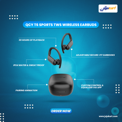 QCY T6 TWS Sports Bluetooth Earbuds 5.0 in-ear Touch Control Headset with Microphone