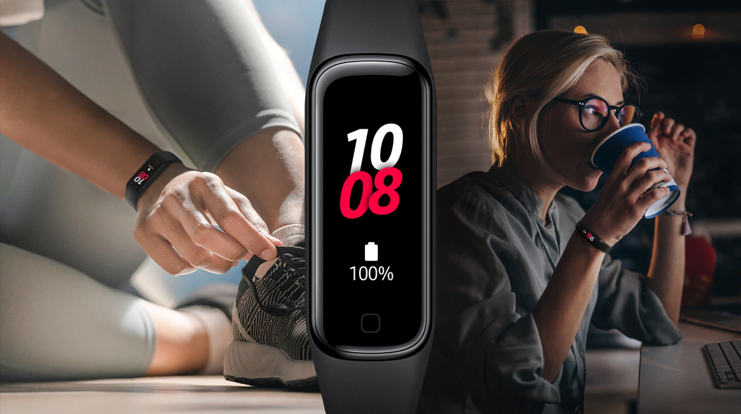 Based on internal testing using a fully charged Galaxy Fit2 paired with a Galaxy smartphone. Battery life is up to 21 days in the low usage scenario (heart rate and auto workout tracker off; without wearing Galaxy Fit2 while sleeping) and up to 15 days in the typical usage scenario (without wearing Galaxy Fit2 while sleeping).