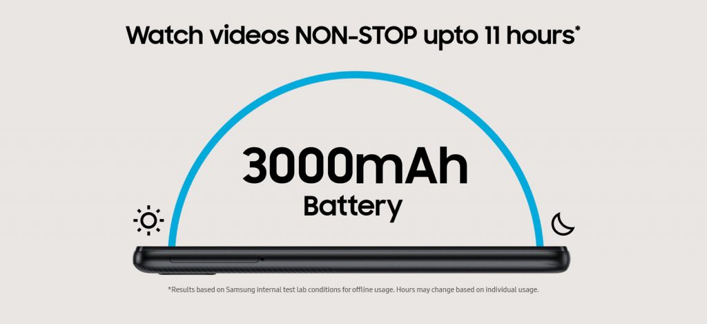 Watch Videos Non-stop upto 11 hours* with 3000mAh Battery