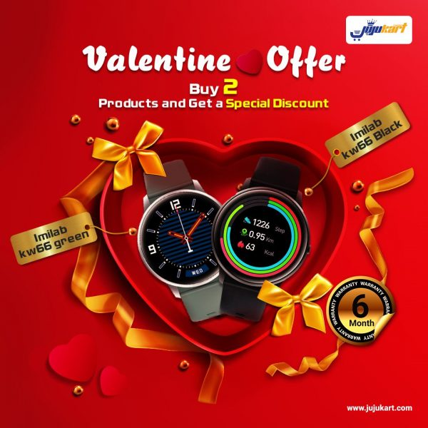 Valentine Couple Offer – Xiaomi Imilab KW66 Smart Watch 2pc Combo Set